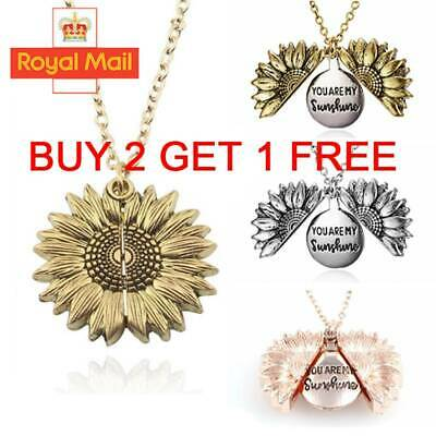Unisex You Are My Sunshine Open Locket Sunflower Pendant Necklace Jewelry Gifts
