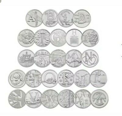 2019 Uncirculated Royal Mint Alphabet A to Z Full Set Of New 10p Ten Pence Coins