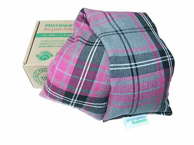 Unscented Microwave wheat bag-UK Made - NON Scented Pink Tartan Cotton Made i...