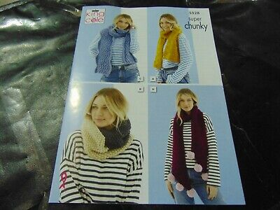 Hat /& Wrap Super Chunky Knitting Pattern King Cole 5067 Ladies Scarf