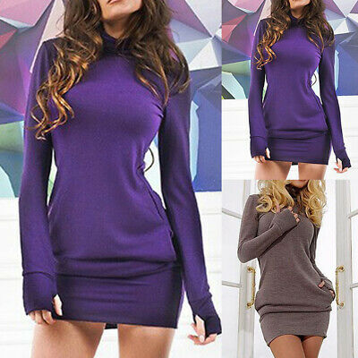 Damen Rollkragen Bodycon Pullover Jumper Pullikleid Strickkleid Winter Minikleid