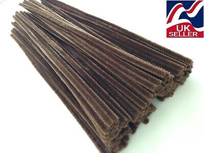 "10 pack BROWN chenille craft stems pipe cleaners 30cm(12"") long 6mm wide"