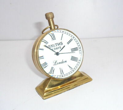 Vintage Table Top Desk Brass Clock Antique Collectible Watch Decorative and gift