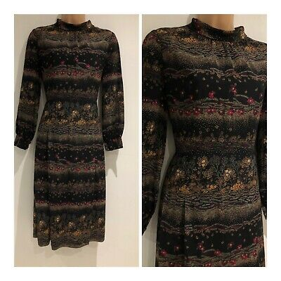 Vintage 70's Gorgeous Black Red Green Sand Floral Long Sleeve Pleated Dress 14