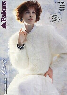 "Patons 8641 Lady Sweater Mohair 28-40"" Vintage Knitting Pattern"