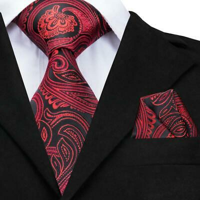 USA Classic Men's Silk Tie Black Red Paisley Party Necktie Hanky Wedding GP-012