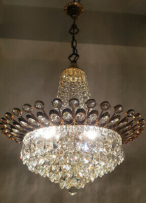 Antique Vintage Brass & Crystals GIANT French Chandelier Lighting Ceiling RARE!!