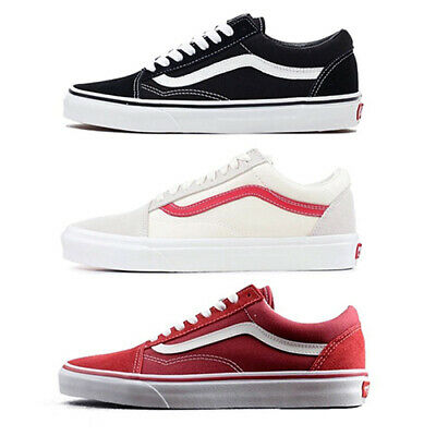 New Vans Old Skool Classic Canvas/Suede Black or Red/White Skate Shoes/Sneakers