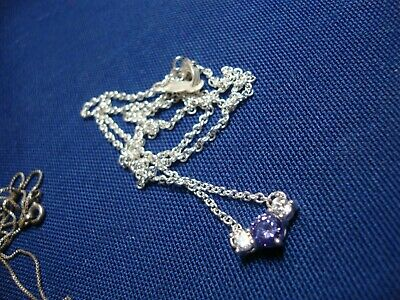 Grandmas Estate 925 Sterling Silver Gem Stone Necklace