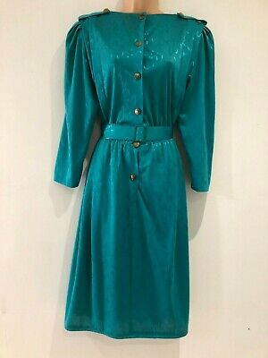 Vintage 80's Jade Green Metallic Pattern Long Sleeve Belted Day Dress Size 12