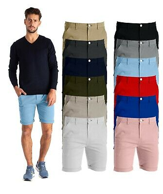 Mens Chino Shorts 100% Cotton Casual Chino Half Pants JTurn Up Hem
