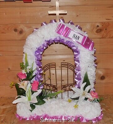 Artificial silk funeral flower Gates of Heaven - tribute - memorial  Mum/Nan/Any