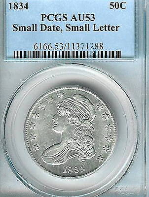 1834 Small Date Small Letters Capped Bust Half Dollar : PCGS AU53 Blazing White