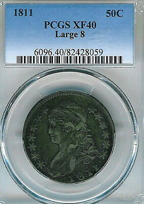 1811 Large 8 Capped Bust Half Dollar : PCGS XF40