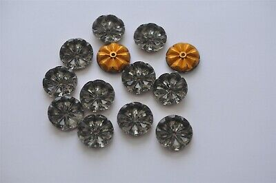 Twilight Gray West German 22mm Flower Glass Stones With Hole, 24 pieces -V5279