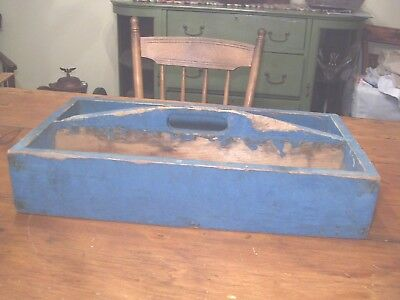 Very Nice Heavy Large, Old Divided Wood Utility Tray With Original Blue Paint!!!