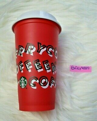 NEW Starbucks Merry Coffee Grande Reusable Red Cup Holiday 2019 16oz LE Hot Cold