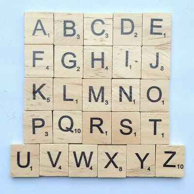 Tiles Scrabble Crafts Wooden Alphabet Numbers Black Letters Educational Toys