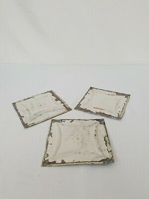 12 Pc Lot Antique Salvage Ornate Tin Ceiling Tile 6 X 6 Inches Original Chippy