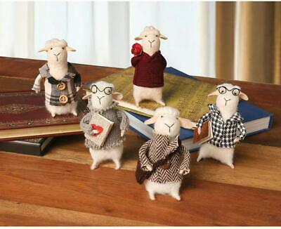 CATALOG CLASSICS Felted Wool Sheep in Clothes Decorative Figurines - Set of 5