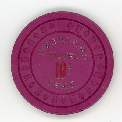 Fractional Chip 10¢ Overland Hotel Casino Reno NV