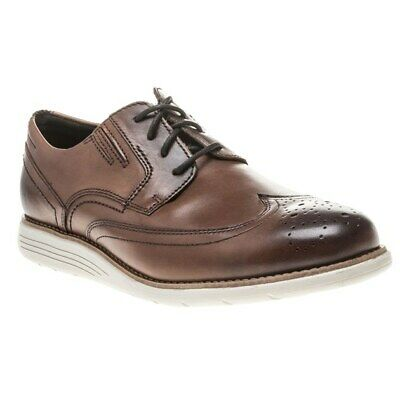 New Mens Rockport Tan Tmsd Wingtip Leather Shoes Brogue Lace Up