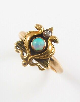 Antique 14k Gold Egyptian Revival Double Serpent Opal & Diamond Ring Size 6.25