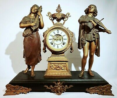 Hebe and Venetian - Antique Ansonia Mantel Clock, Rare Double Figural, ca.1895