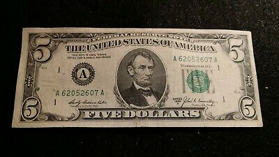 1969 A  -  American $5 Five Dollar Bill  Note  Abraham Lincoln   Banknote  # 143