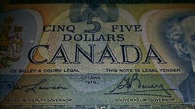 1979   Five Dollars $5 Banknote    Bank Of Canada Canadian Paper Note # 64