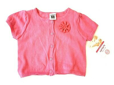 Carters Girls Cardigan New with Tags 9 Months Pink Button Up Light Weight SS