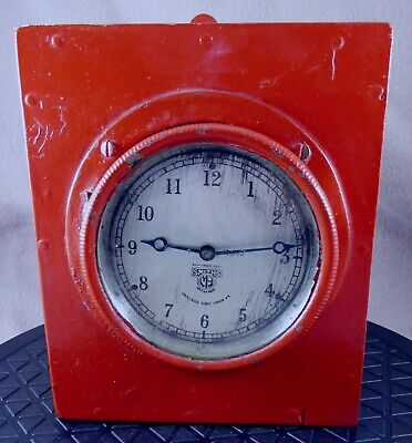 Smiths Motor Accessories 8 day Car Clock in Red Industrial wall mount (working)