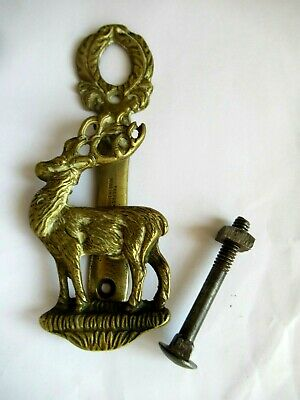 Antique /Vintage English Stag /Deer  Brass Door Knocker Complete