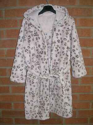 MARKS & SPENCER Girls Pink Animal Print Soft Fleece Dressing Gown Age 7-8 128cm