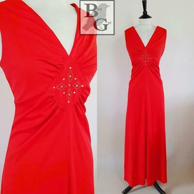 Elegant 1970S Vintage Red Jersey Diamante Trim Evening Maxi Dress 12-14 M