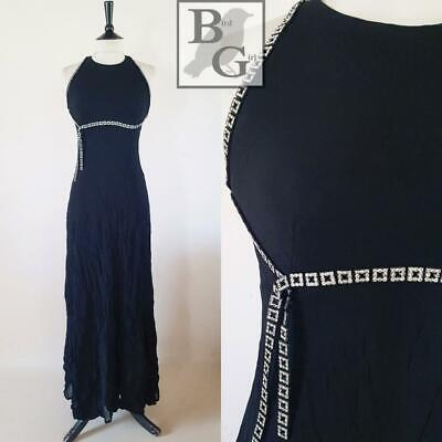 Diamante Trims 1990S Vintage Black Elegant Evening Maxi Dress 8 Xs