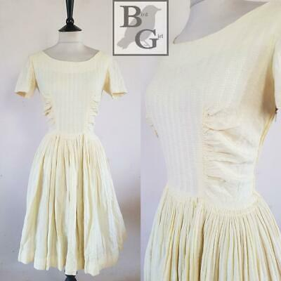 Divine Original 1950S Vintage Yellow Cotton Striped Swing Tea Day Dress 8-10  S