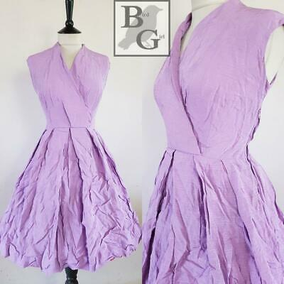 Original 1950S Vintage Purple Finely Striped Swing Tea Day Dress 10 S