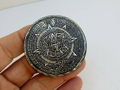 Vtg Taxco Mexico Large Sterling Silver Aztec Mayan Calendar Pendant for Necklace