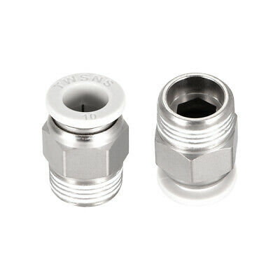 Straight Pneumatic Push to Quick Connect Fittings 3/8BSPT Male x 10mm White 2pcs