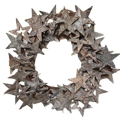 Birch Bark Christmas Star Wreath - Whitewash and Glitter - 37cm - Rustic