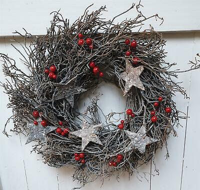 Whitewashed Twig Wreath - Stars and Berries - 39cm - Christmas Decoration