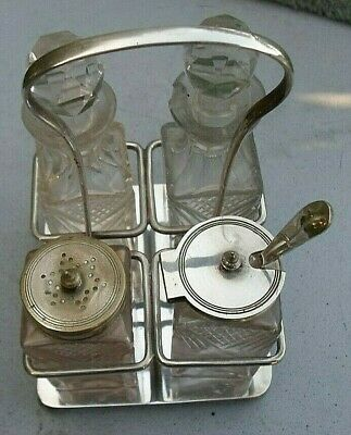 Antique Silver Plated Condiment Set -by A & S S    5178. made in England