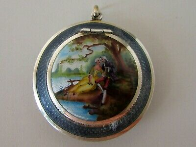 Antique Sterling Guilloche Enamel Painted Scene Powder Compact Vanity Chatelaine