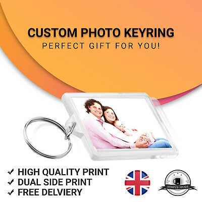 Personalised Photo  Keyring Novelty Keychain Key fob Custom Name Keyring