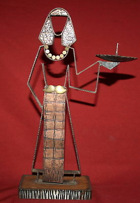 Vintage hand made copper woman statuette candle holder