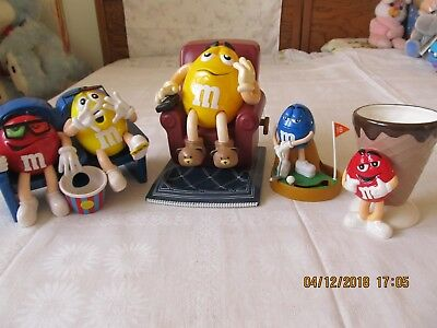 Lot 4 M&M Collectibles- 3 Candy Dispensers At Movies Recliner Golf Player 1-Cup