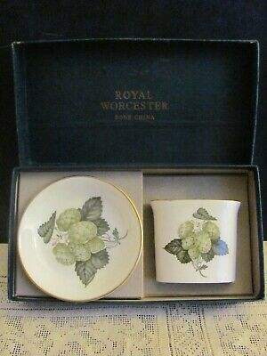 1965 Royal Worcester Bone China Toothpick Holder & Trinket Dish In Box