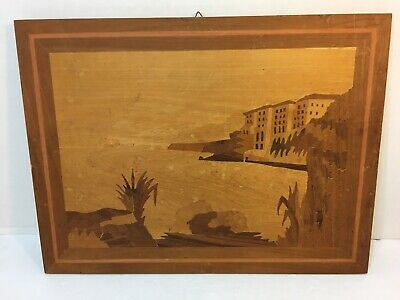 Vintage Italian wooden Marquetry Wall Plaque Wood Inlaid Picture Italy (1) T-13