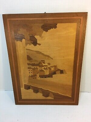 Vintage Italian wooden Marquetry Wall Plaque Wood Inlaid Picture Italy (2) T-13